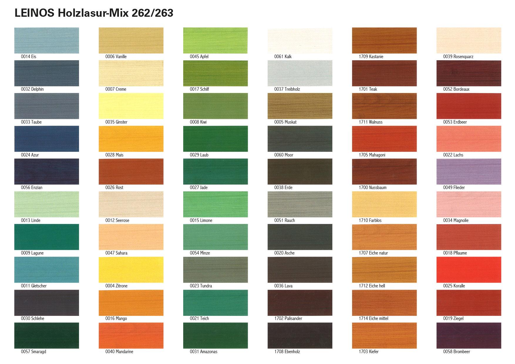 Holzlasur Mix Fur Aussen 262 Leinos Naturfarben Ole Und